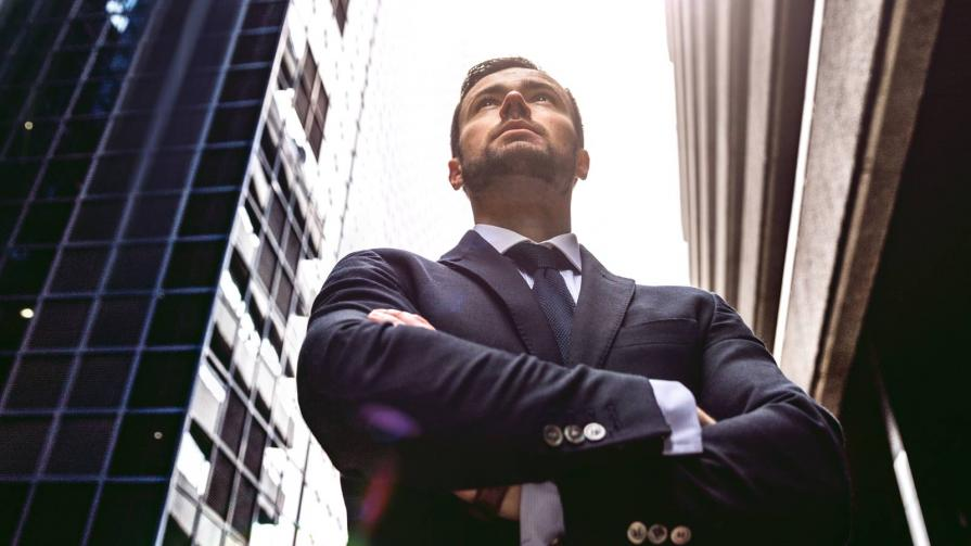 Businessman in Powerful Stance